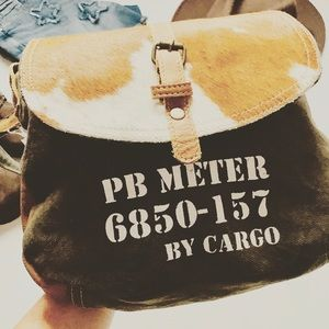 Cargo Shoulder Bag Canvas and Leather NWT
